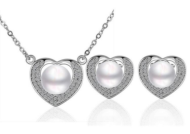 Мода классический сердце ожерелье серьги набор 18kgp сплава Перл комплект ювелирных изделий для женщин лучшие ювелирные изделия свадебные ювелирные изделия 1444