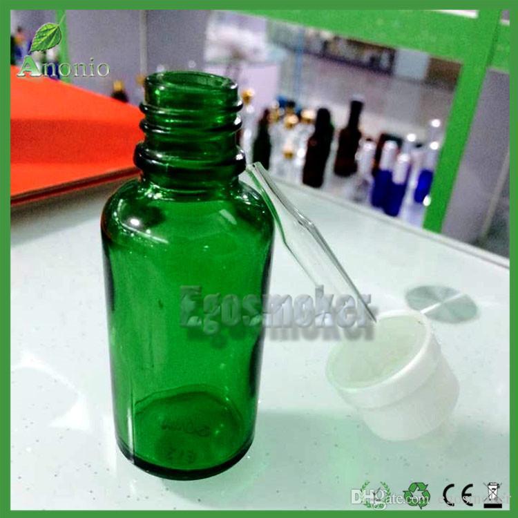 5ml 10ml 15ml 50ml 30ml Glass Bottles E Liquid EJuice Bottles Green Dropper Bottle With Black Childproof Rubber Cap