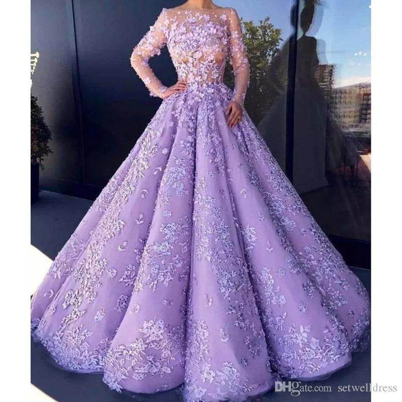 Compre Sexy Lavender See Through Vestidos De Baile Apliques De ...