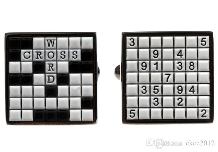 Alta Calidad Nuevo Clásico de Plata de Cobre Para Hombre Boda Gemelos Novedad Rara Fantasía Scrabble Sudoku Paño Limpio 171040