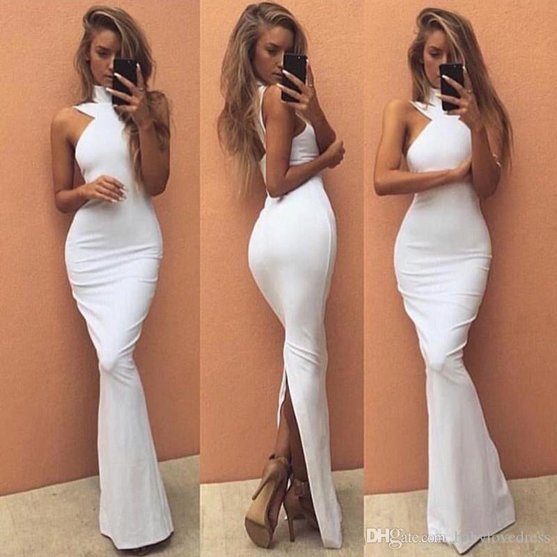 Simple high collar sleeveless prom dresses long back split sexy 2018 formal mermiad dresses evening wear