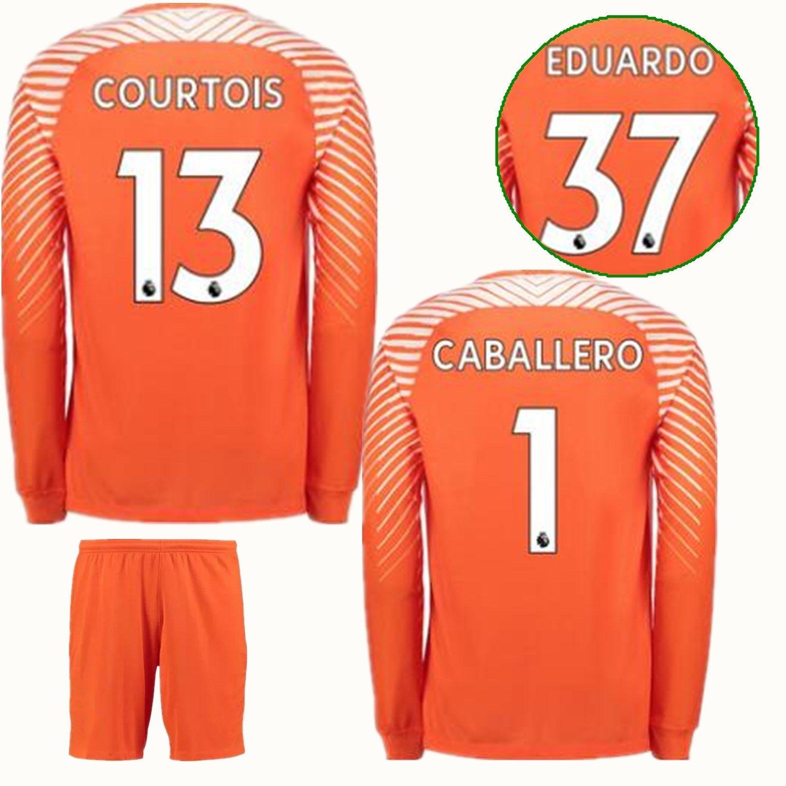 b80e6f752 2018 2018 The Blues Long Goalkeeper Jerseys Soccer Sets Shirts 1 Begovic 13  Thibaut Courtois Goalkeeper