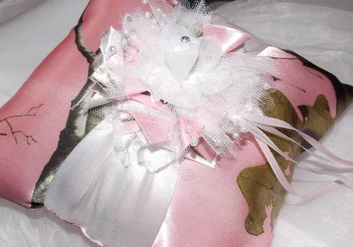 2015 Pink Camo Wedding Ring Bearer Pillow Mossy Oak Camo Ring Almohada Al Por Mayor Almohadas de Anillo Por Encargo