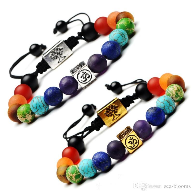Resultado de imagen de Pulsera Brazalete Joyería,Yoga 7 Chakra Tree of Life ON Charm Bracelet Stone Beads Rope Religious Buddhism Bracelet Women Men Bracelet Bangles