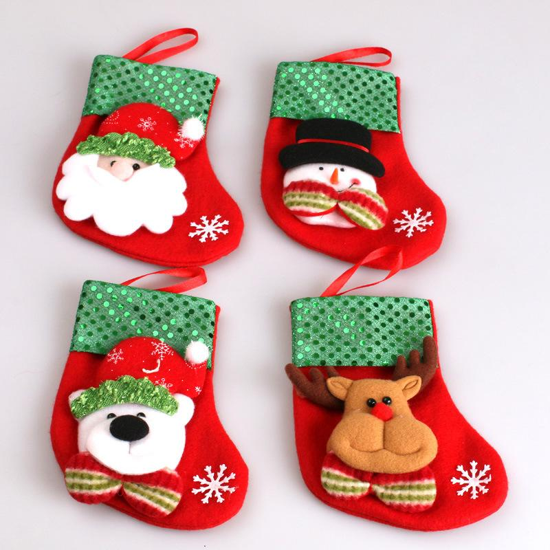cute santa reindeer snowman bear white christmas socks gift bags christmas candy bag decoration merry christmas supplies christmas table decoration - Christmas Socks Decoration