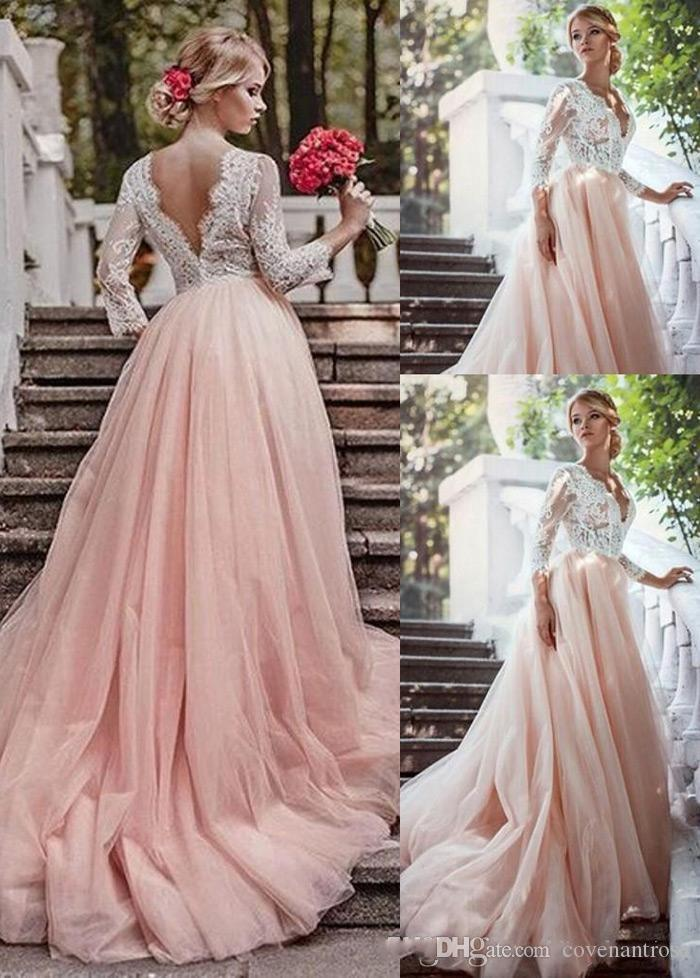 653c90a6719d Discount 2017 A Line Blush Pink Wedding Dresses With 3/4 Long Sleeves Tulle  Skirt Lace Country Wedding Dress V Neck Bridal Gowns Cheap Vintage A Line  ...