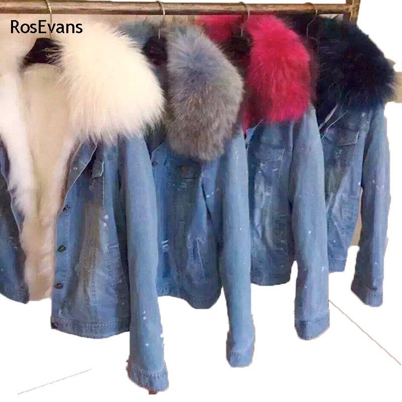 Wholesale Rosevans 2017 Korean Winter Women Faux Fox Fur Lined Denim