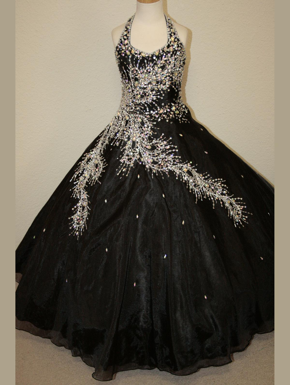 2015 Black Girls Pageant Dresses Peacock Beaded Bodice