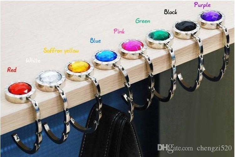Folding Hook Hängarehållare Vikbar för handväskor Väskväskor Tillbehör med trendig rhinestone