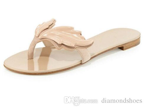 New Arrival Own Brand Women Fashion Leaf Wing Flip Flops Flat Heel Sandals Nude Gold Silver Colors Shoes Woman Slipper