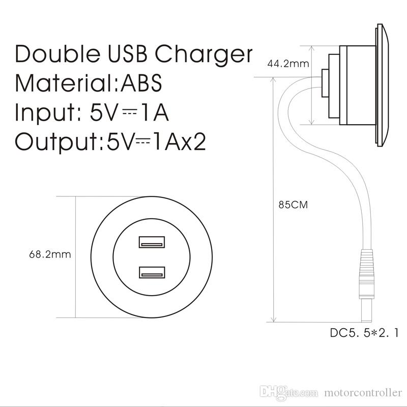 Dual USB Mobile Charger Port Furniture Hardware Material Sofa Accessory Socket DC5521 Terminal Input 5V 2A 1m Cable Connecting Furniture