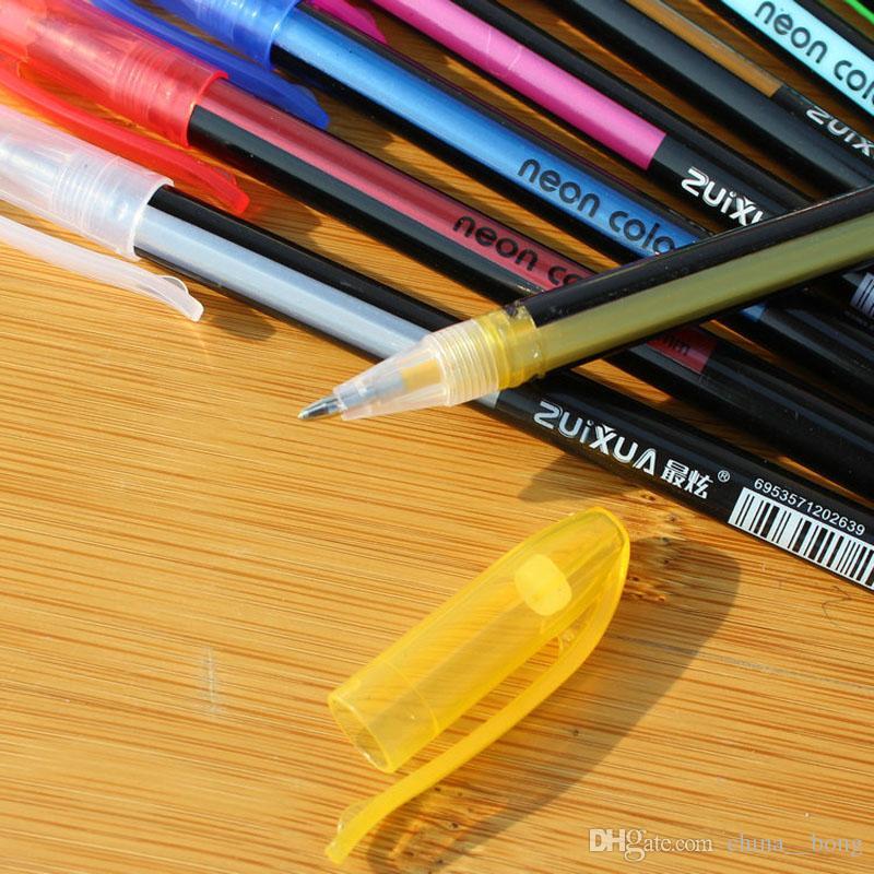 DHL 48 قطع حار هلام الأقلام أو جل الغيارات رولربال باستيل النيون بريق القلم رسم اللون القلم طالب عيد هدية
