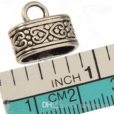 Deri çok bilezik için diy tokalar kanca geçişleri vintage gümüş metal kalp aşk 12 * 7mm oval büyük delik takı bulguları el yapımı 50 adet