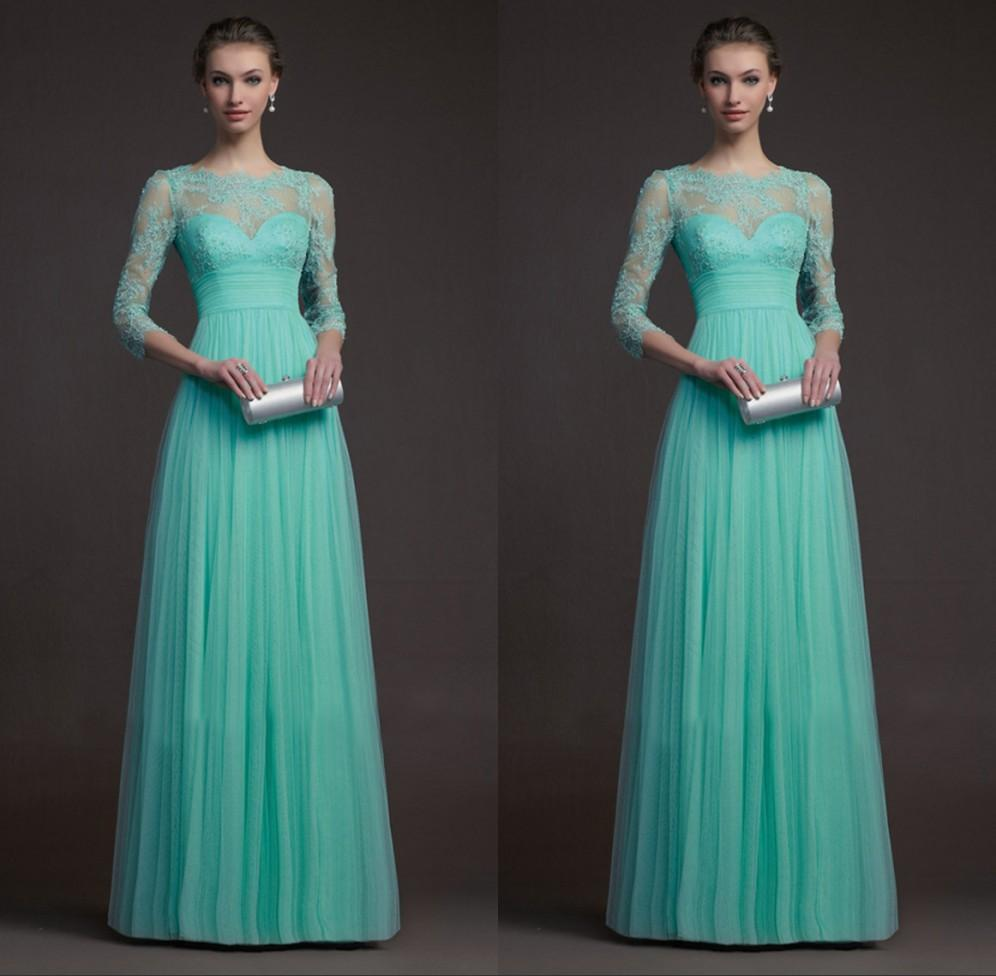 Long sleeve turquoise bridesmaid dresses tulle and lace see long sleeve turquoise bridesmaid dresses tulle and lace see through floor length prom dresses long evening formal gowns custom size wedding and bridesmaid ombrellifo Image collections