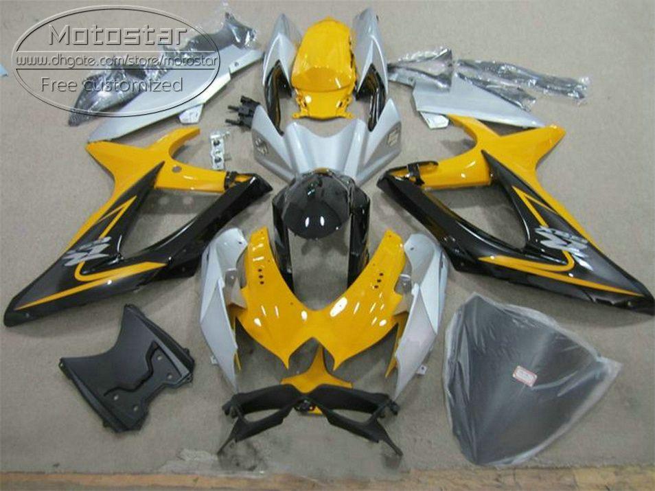 Новые запчасти для SUZUKI GSX-R750 GSX-R600 2008 2009 2010 желтый черный обтекатели K8 K9 GSXR600 / 750 08-10 обтекатель комплект KS68