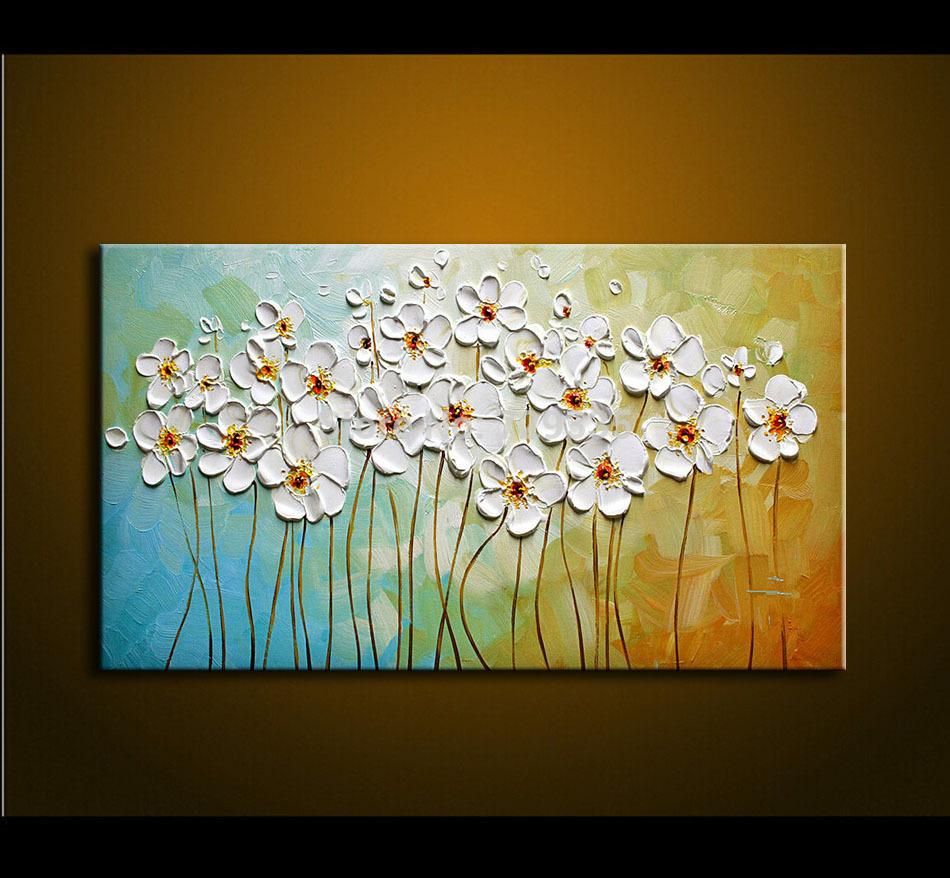 hand painted textured palette knife white flowers oil  - see larger image
