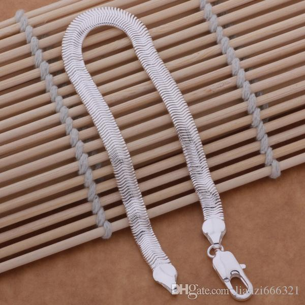 with tracking number Top Sale 925 Silver Bracelet 6M Flat snake chain Bracelet Silver Jewelry cheap 1562