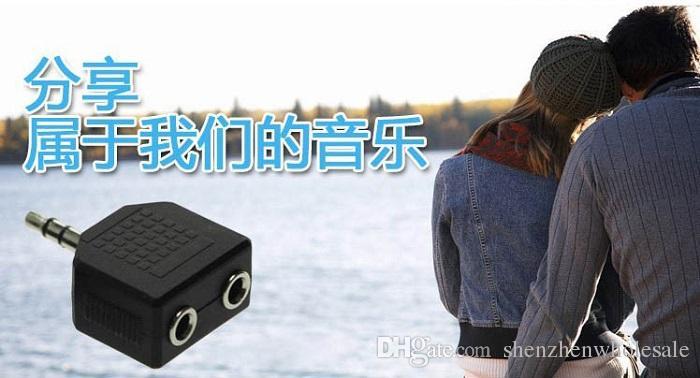 1 Maschio a 2 Femmina Audio Splitter Cuffie Adpater Cuffie Auricolari Convertitore Connettore Splitter Cuffie