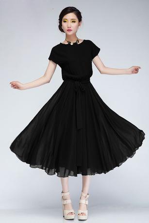 96bca114a The New Elastic Waist Size Loose Bat Sleeve Chiffon Dress Belt The ...