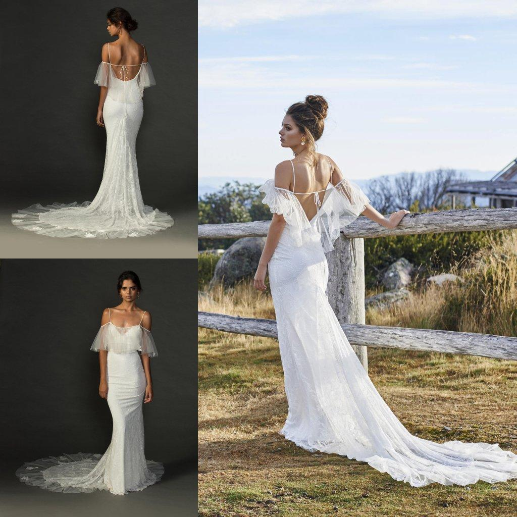 Sexy Open Back Mermaid Hippie Wedding Dresses With Spaghetti Straps Sheer Bolero Off The Shoulder Boho Gowns Beach Bridal Dress