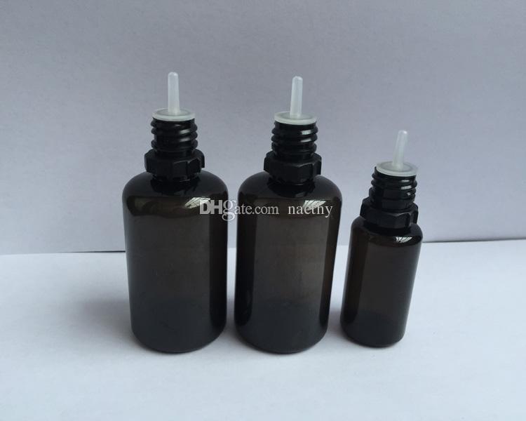 검은 색 애완 동물 빈 병 10ml 30 ml 플라스틱 덤프 병 길고 얇은 팁 탬퍼 증거 모자 전자 액체 바늘 병 DHL 배송