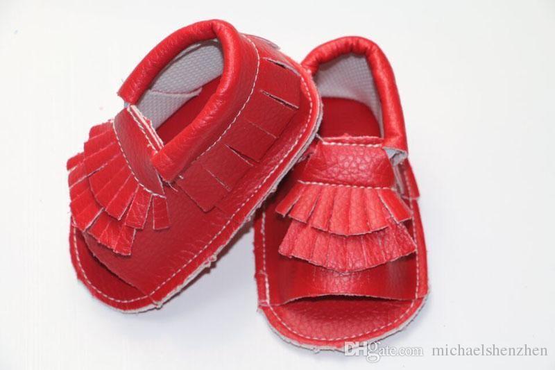 EMS 12 Cor Novo couro de vaca Infantil abra mocassions de dedo do pé sandálias borlas de bebê boot boot infantil suded couro 2 camada de franja sapatos B
