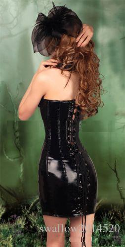 2016 New Women Noble PVC Leather Erotic Bustier Hook Busk Top Corset with Dress Black/Red