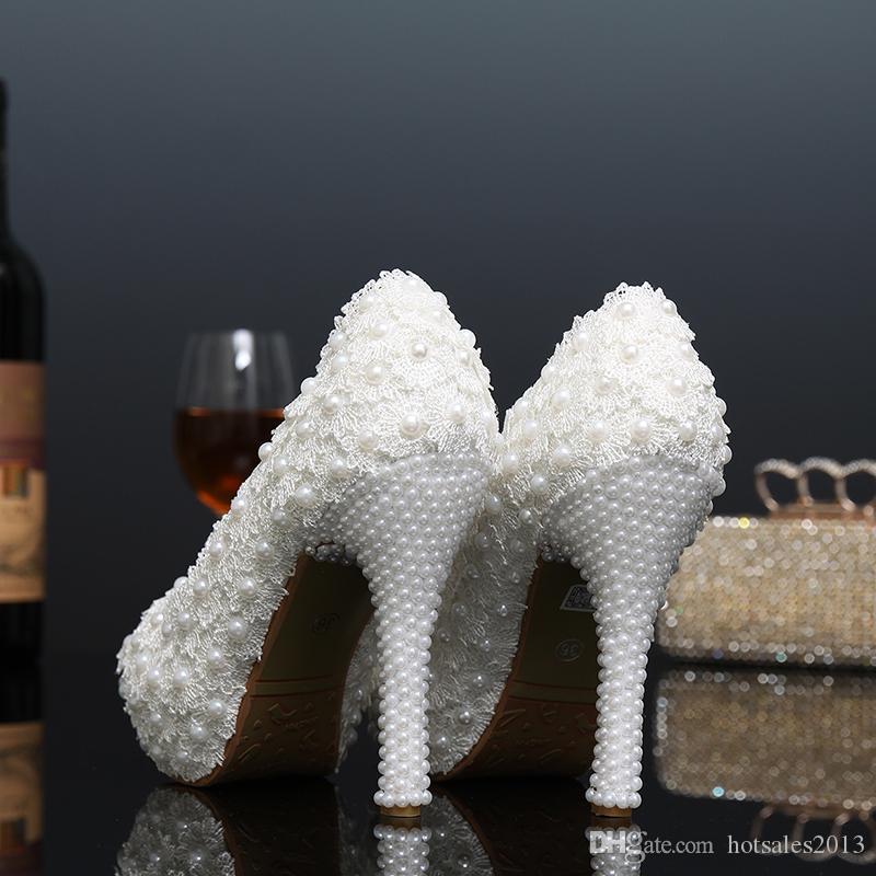 Новая платформа красивые жемчужные кружева белые свадебные туфли Peep Toe женщины насосы партии танец сексуальные туфли на высоком каблуке размер 34-39