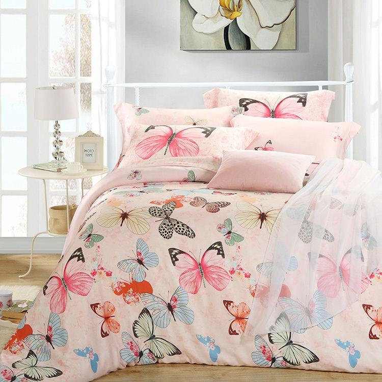 Luxury Butterfly Queen King Size Bedding Sets Pink Quilt Duvet Cover