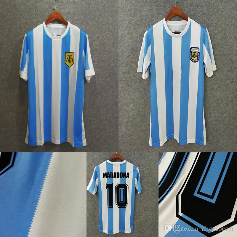 f45e41148 2019     Wholesale 1986 1978 Argentina Retro Soccer Jerseys Home Top Thai  3AAA Customzied Name Number  10 Maradona Soccer Uniforms From Alicesoccer