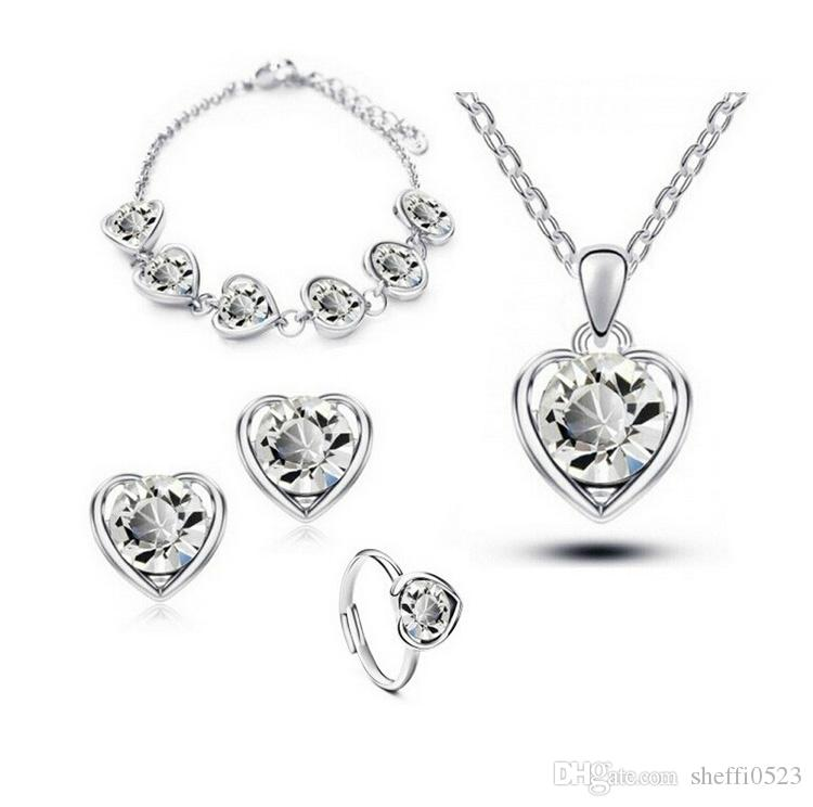18K Gold Plated Austria Crystal Heart Necklace Earrings Bracelets Rings Sets Fashion Alloy Jewelry Fine Jewelry Sets 1131