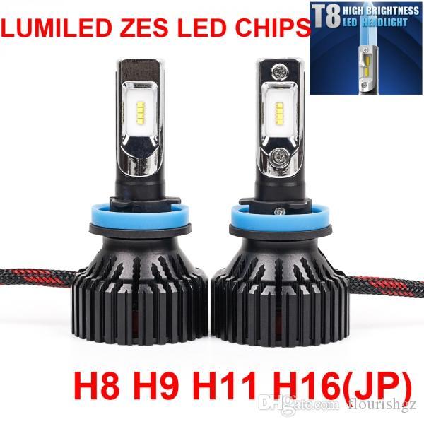 1 juego H4 H7 H8 H9 H11 H16 9005 9006 60W 8000LM T8 LED Faro LUMILED 2do ZES Chips Blanco puro 6500K Todo en uno Ventilador incorporado Bombilla HDriving