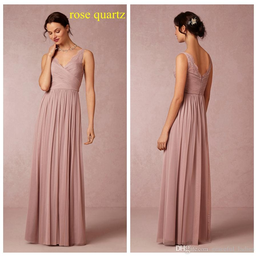 Rose quartz bridesmaid dress lace tulle floor length v neckline rose quartz bridesmaid dress lace tulle floor length v neckline pleated runched long maid of honor formal dresses for 2015 beach wedding bridesmaid dresses ombrellifo Choice Image