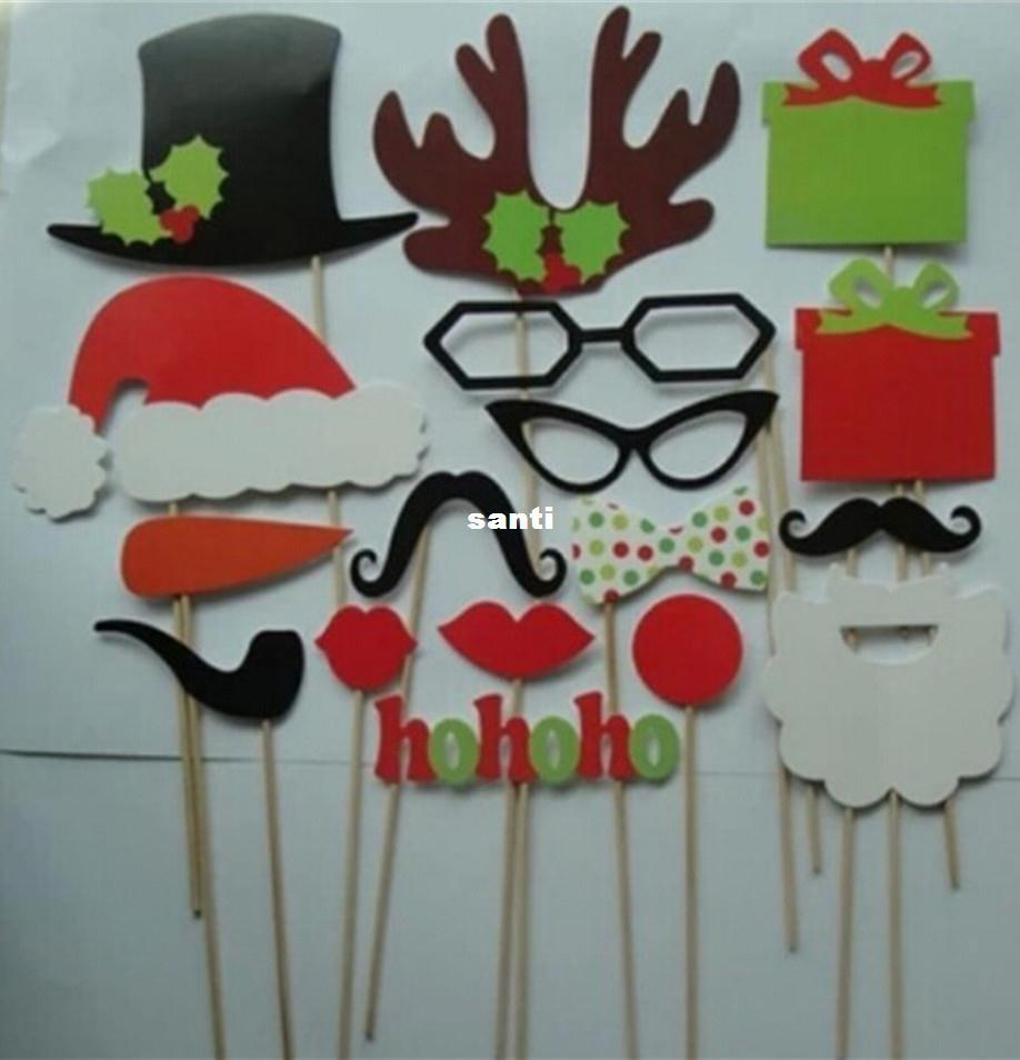 New Arrive 17 pcs/lot DIY Photo Booth Props Mustache Lip Hat Antler Gift Stick Christmas Party