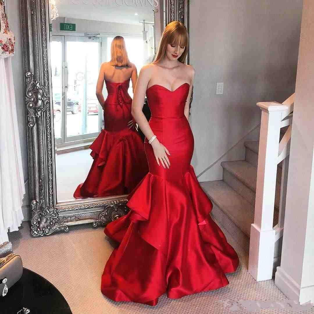 Beautiful Ruffle Red Mermaid Evening Dresses Satin Saudi Arabia Vestidos De Festa Long Party Dress Prom Formal Pageant Celebrity Gowns