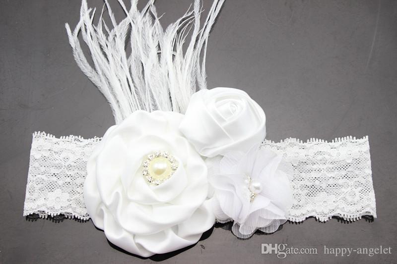 Nieuwe Parel Diamante Rose Bloem met Veer Kant Hoofdband Baby Meisje Haaraccessoires Bloemen Haarband Gratis Verzending Foto Prop YM6125