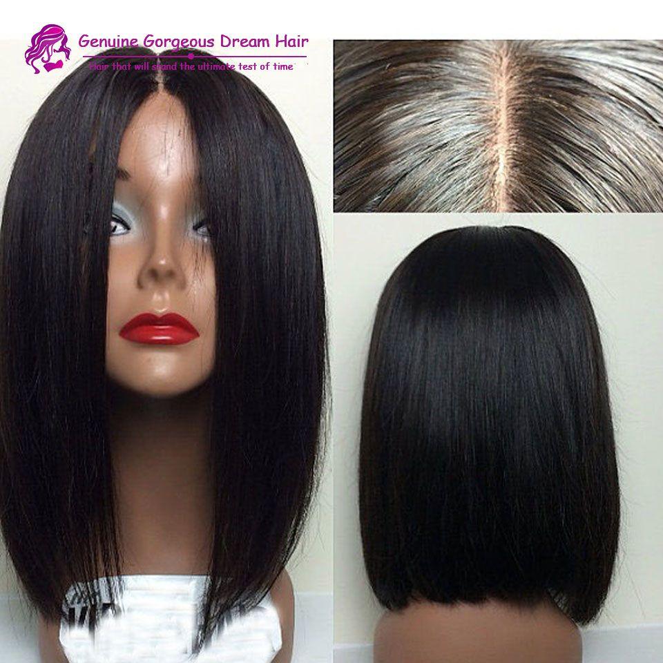 middle part human hair short bob wigs for black women glueless