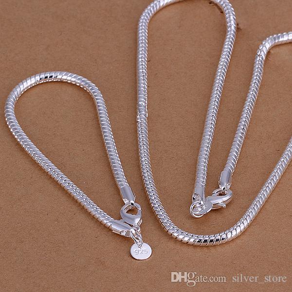 Yüksek dereceli 925 ayar gümüş '4 MM yılan kemik zincir parçası-Erkekler takı seti DFMSS065 marka yeni Fabrika doğrudan 925 gümüş kolye bilezik