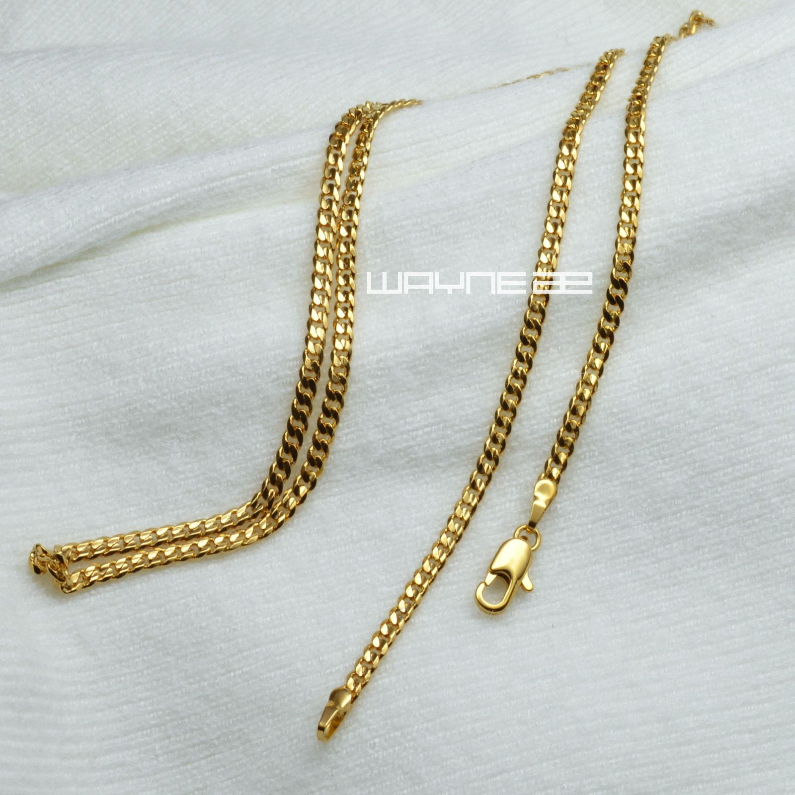 Elegant 18K 18CT Yellow Gold Filled GF 17.7 inch45cm Length Ladies Chain Necklace N316