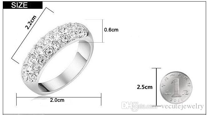 Fashion 18K Gold Silver Plated Wedding Rings Austrian Crystal Ring for Women Made With Swarovski Elements Wedding Finger Rings Nice Gift
