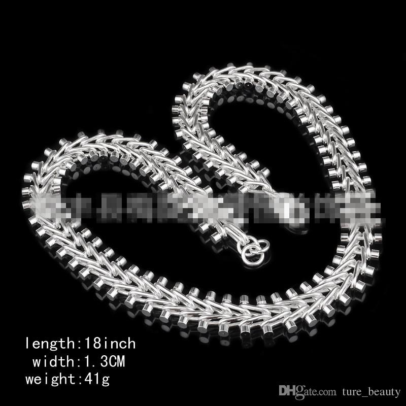 SALE! 925 Silver Necklace Mens Thick Watch Chain XMAS gifts 13MM 18 inch fashion jewelry /