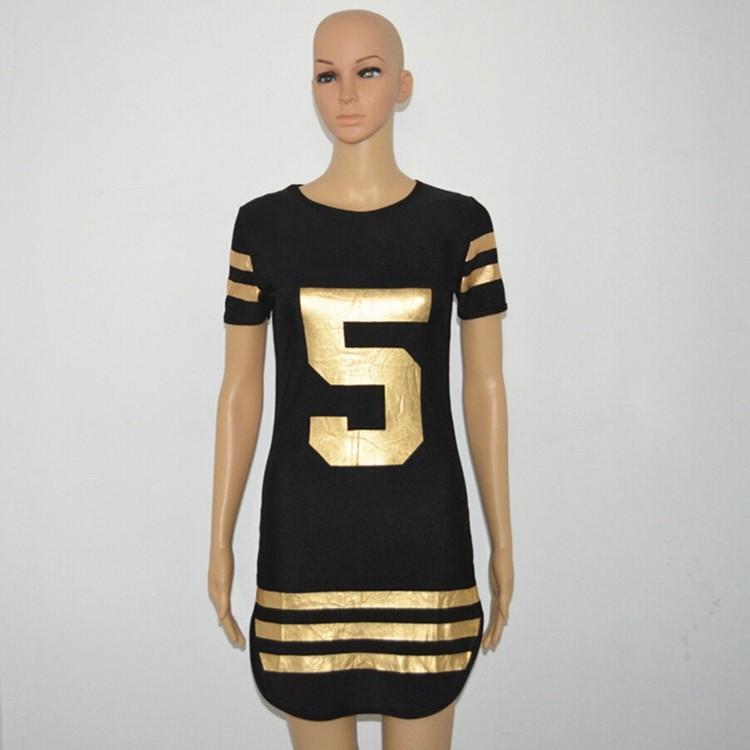 New 2016 Hot Summer Women Letter 5 Printed Striped Baseball Sport Dress Casual Short Sleeve Side Split Mini T Shirt Jersey Dress S-XXL