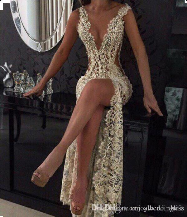 Champagne Sexy 2019 Plunging V Neck Tight -High Split Evening Dresses Full Lace Side Cutaway Backless Prom Dresses With Beading