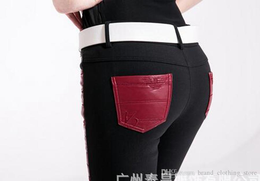더 많은 여성 겨울과 한 판 유럽과 미국의 새로운 벨벳 꽉 얇은 패치 워크 가죽 바지와 품질 상품. S - 2xl