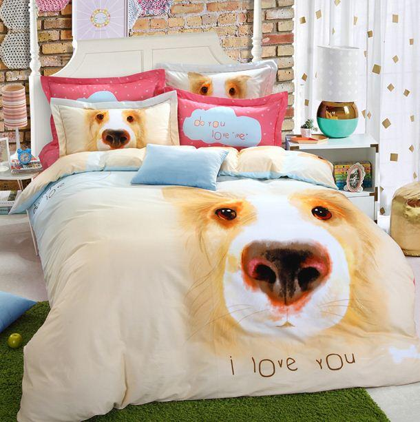 Merveilleux Dog Print Bedding Sets Duvet Cover Kids King Size Queen Double Quilt  Cartoon Sheets Bed In A Bag Bedsheets Bedsets Cotton Thick Western Bedding  Duvets Cheap ...