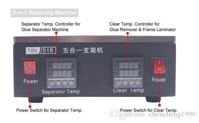 5 في 1 لسامسونج / اي فون الحافة الأوسط الإطار آلة منفصلة + شاشة LCD تعمل باللمس فاصل + LCD مزيل الغراء آلة + لوحة ساخنة