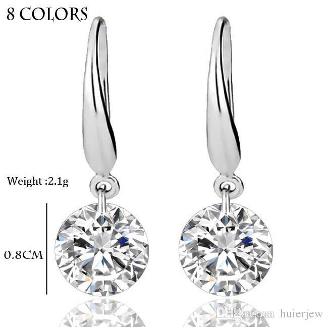 Orecchini in argento sterling Gemstone Big Long Dangle Geometric Drop Orecchini cubici Zirconia Dichiarazione Orecchini in cristallo