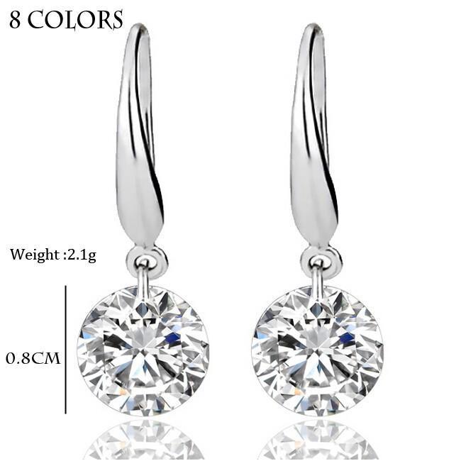 Pendientes de plata esterlina Piedras preciosas Pendientes largos largos geométricos colgantes Pendientes de cristal de declaración de circonio cúbico