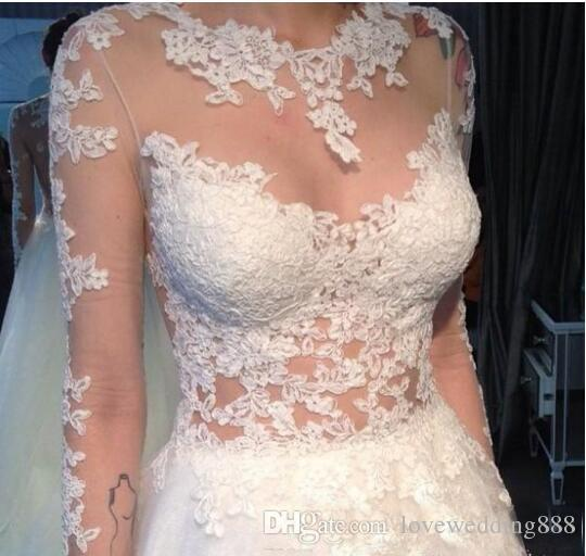 2019 Günstige Applique Lace A Line Sheer Long Sleeves Brautkleider Jewel Illusion Button Zurück High Low Brautkleid