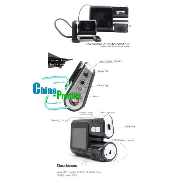 I1000 Car DVR Dual Camera Dual Lens Camcorder HD 720P Dash Cam Black Box With Rear 2 Cam Vehicle View Dashboard 002780